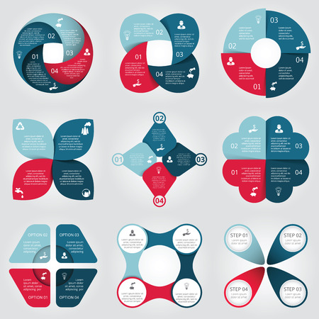 Vector circle elements set for infographic. Template for cycle diagram, graph, presentation. Business concept with 4 options, parts, steps or processes. Abstract background.