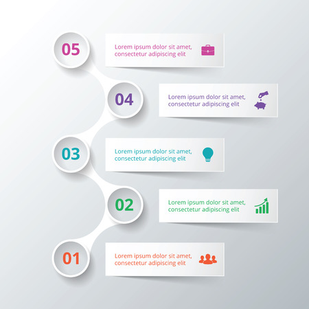 Vector elements for infographic. Template for diagram, graph, presentation and chart. Business concept with 5 options, parts, steps or processes. Data visualization.