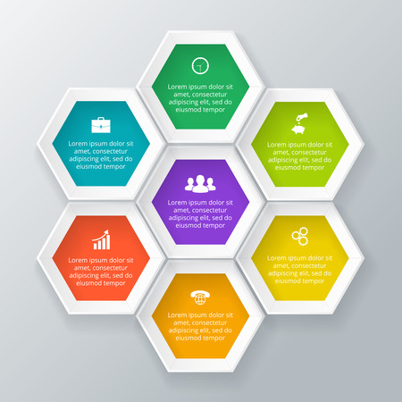 Vector hexagons for infographic. Template for cycle diagram, graph, presentation. Business concept with 7 options, parts, steps or processes. Abstract background.