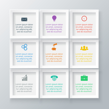 Vector squares for infographic. Template for diagram, graph, presentation and chart. Business concept with 9 options, parts, steps or processes. Data visualization.