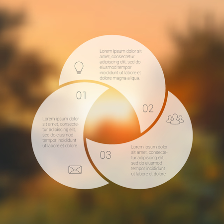 three: Circle line infographic. Template for cycle diagram, graph, presentation and round chart. Business concept with 3 options, parts, steps or processes. Linear graphic. Blur vector background.