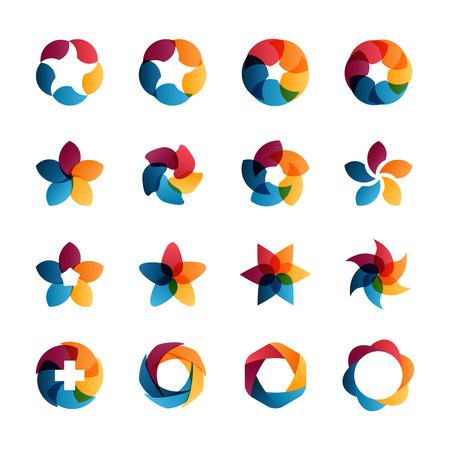ロゴのテンプレートを設定します。サークル創造的なサインとシンボルを抽象化します。円、プラス記号、星、五角形、六角形と他のデザイン要素