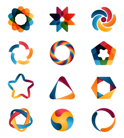 star logo: Logo templates set. Abstract circle creative signs and symbols. Circles, star, pentagon, hexagon and other design elements