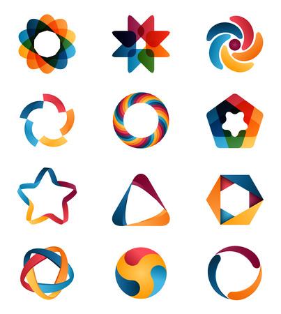 estrella: Logotipo de las plantillas establecidas. Círculo abstracto signos y símbolos creativos. Círculos, estrella, pentágono, hexágono y otros elementos de diseño Vectores