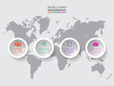 Vector world map with infographic elements. Template for diagram, graph, presentation. Business concept with 4 options, parts, steps or processes. Abstract background Vector