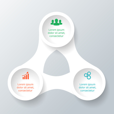 Vector circle element for infographic. Template for cycle diagram, graph, presentation. Business concept with 3 options, parts, steps or processes. Abstract background.