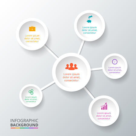 Vector circle element for infographic. Template for cycle diagram, graph, presentation. Business concept with 6 options, parts, steps or processes. Abstract background. Illustration
