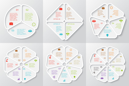 options: Vector circle elements set for infographic. Template for cycle diagram, graph. Business concept with 3, 4, 5, 6, 7 and 8 options, parts, steps or processes. Abstract background.