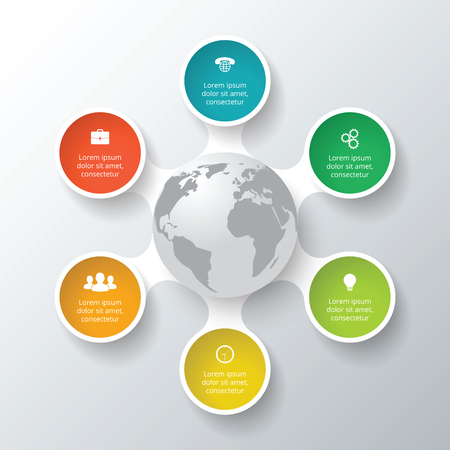 Vector circle elements for infographic. Template for cycle diagram, graph, presentation. Business concept with 6 options, parts, steps or processes. Abstract background