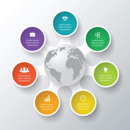 Vector cirkel elementen voor infographic. Sjabloon voor cyclus diagram, grafiek, presentatie. Zakelijk concept met 7 opties, delen, stappen of processen. Abstracte achtergrond Stock Illustratie