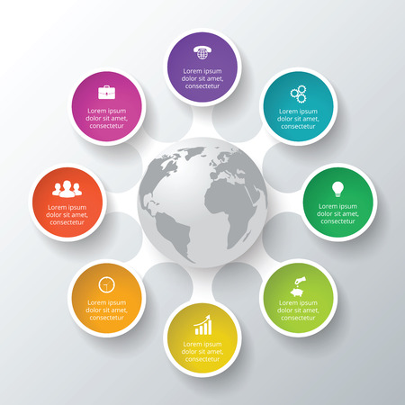 options: Vector circle elements for infographic. Template for cycle diagram, graph, presentation. Business concept with 8 options, parts, steps or processes. Abstract background Illustration