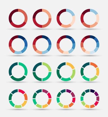 graficas de pastel: Gráficos circulares segmentados y multicolores establecen con 3, 4, 5, 6, 7 y 8 divisiones. Plantilla de diagrama, gráfico, presentación y gráfico. Vectores