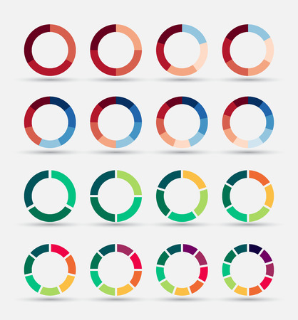 stage chart: Segmented and multicolored pie charts set with 3, 4, 5, 6, 7 and 8 divisions. Template for diagram, graph, presentation and chart. Illustration