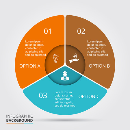 three: Vector circle element for infographic. Template for cycle diagram, graph, presentation and round chart. Business concept with 3 options, parts, steps or processes. Abstract background.