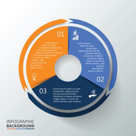 Vector círculo infografía. Plantilla para el diagrama del ciclo, gráfico, la presentación y el gráfico ronda. Concepto de negocio con 3 opciones, partes, etapas o procesos. La visualización de datos.