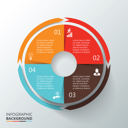 cycle: Vector circle infographic. Template for cycle diagram, graph, presentation and round chart. Business concept with 4 options, parts, steps or processes. Data visualization.