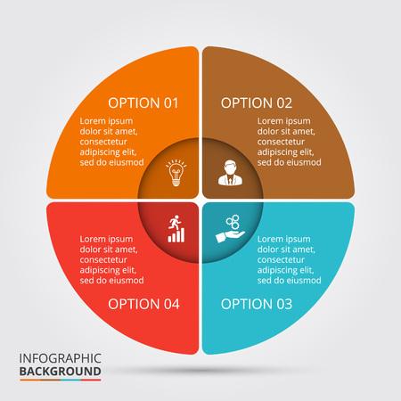 Vector elemento círculo de infografía. Plantilla de diagrama de ciclo, gráfico, la presentación y el gráfico ronda. Concepto de negocio con 4 opciones, partes, etapas o procesos. Resumen de antecedentes. Ilustración de vector