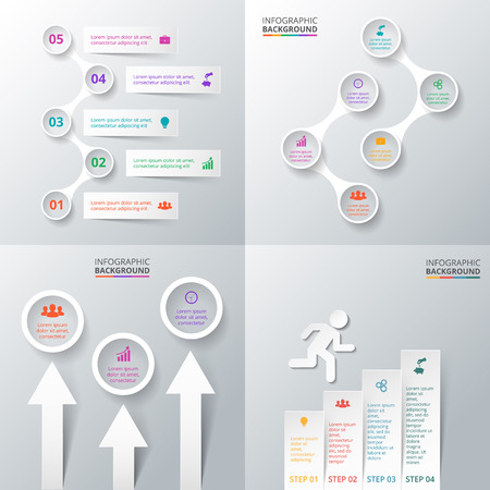 Vector elements set for infographic. Template for diagram, graph and presentation. Abstract background. Ilustração