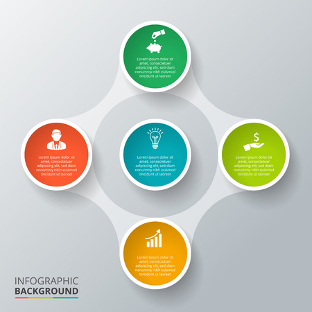 circle abstract: Vector circle element for infographic. Template for cycle diagram, graph, presentation and round chart. Business concept with 5 options, parts, steps or processes. Abstract background. Illustration