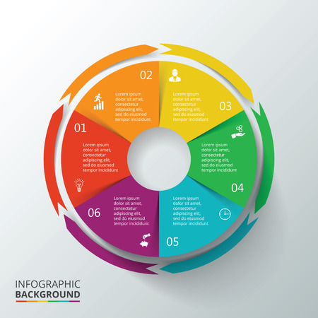 circular: Vector circle infographic. Template for cycle diagram, graph, presentation and round chart. Business concept with 6 options, parts, steps or processes. Data visualization.