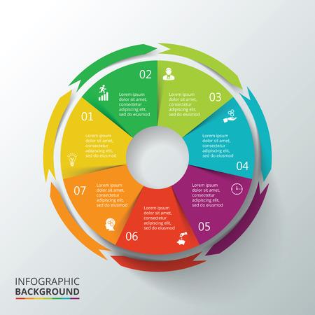par: Vector círculo infográfico. Molde para o diagrama de ciclo, gráfico, apresentação e gráfico rodada. Conceito do negócio com 7 opções, peças, etapas ou processos. Visualização de dados.