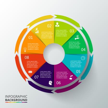 Vector círculo infografía. Plantilla de diagrama de ciclo, gráfico, la presentación y el gráfico ronda. Concepto de negocio con 8 opciones, partes, etapas o procesos. La visualización de datos. Ilustración de vector