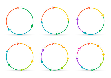 6 7: Vector circle arrows for infographic. Template for diagram, graph, presentation and chart. Business concept with 3, 4, 5, 6, 7 and 8 options, parts, steps or processes