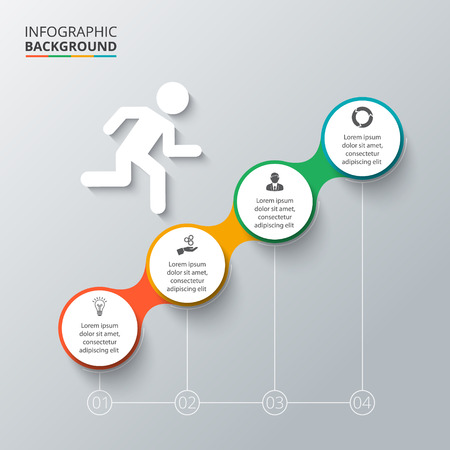 インフォ グラフィックのベクターの要素。図、グラフ、プレゼンテーションのテンプレートです。4 のオプション、部品、ステップやプロセスのビ  イラスト・ベクター素材