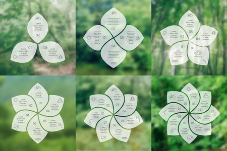 4 5: Vector circle eco infographic. Ecology template for diagram, graph and chart. Environmental care concept with 3, 4, 5, 6, 7 and 8 options, parts, steps or processes. Vector blur background.