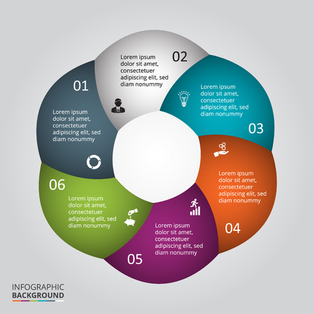 brochure cover: Vector circle element for infographic. Template for cycle diagram, graph, presentation and round chart. Business concept with 6 options, parts, steps or processes. Abstract background.