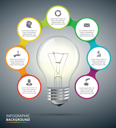 connected idea: Vector light bulb with circle elements for infographic. Template for cycling diagram, graph, presentation and chart. Business concept with 7 options, parts, steps or processes. Abstract background.
