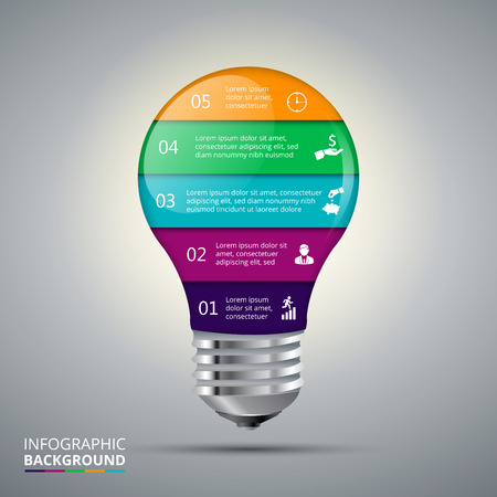 lightbulbs: Vector lightbulb for infographic. Template for diagram, graph, presentation and chart. Business concept with 5 options, parts, steps or processes. Abstract background.