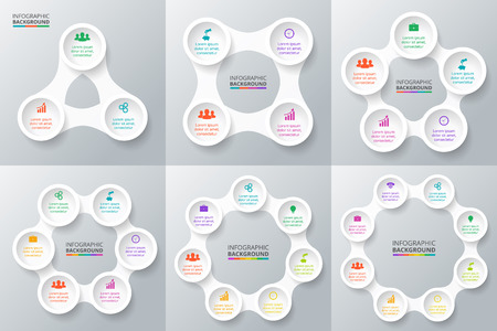 Vector circle infographic set. Template for cycle diagram, graph, presentation and round chart. Business concept with 3, 4, 5, 6, 7 and 8 options, parts, steps or processes. Data visualization. Stock Illustratie