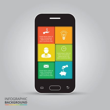 mobile phones: Smart phone and mobile phone infographics vector illustration. Business concept with 6 options, parts, steps or processes.