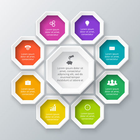 octagon: Vector octagon element for infographic. Template for diagram, graph, presentation and chart. Business concept with 9 options, parts, steps or processes. Abstract background. Illustration