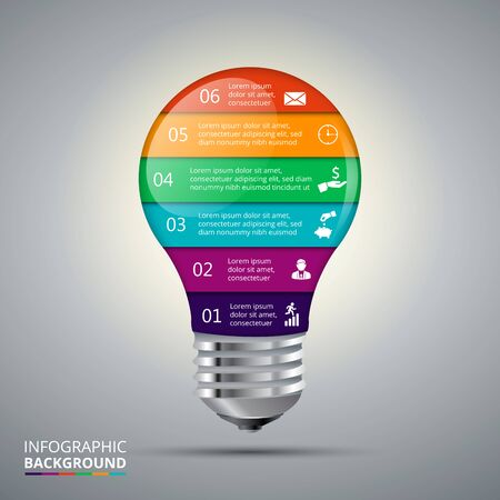 six objects: Vector lightbulb for infographic. Template for diagram, graph, presentation and chart. Business concept with 6 options, parts, steps or processes. Abstract background. Illustration