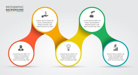 infografica: Elemento di vettore per infografica. Modello per schema, grafico, presentazione e grafico. Concetto di affari con 5 opzioni, parti, passi o processi. Astratto.