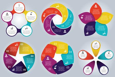 diagrama: Elementos vectoriales círculo establecer para infografía. Plantilla de diagrama de ciclo, gráfico, la presentación y el gráfico ronda. Concepto de negocio con 5 opciones, partes, etapas o procesos. Resumen de antecedentes.