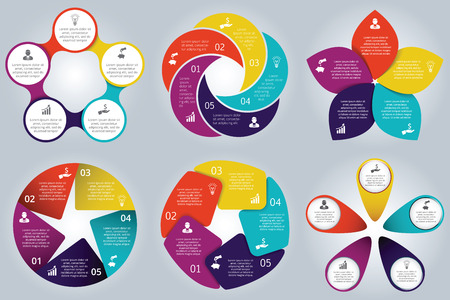 Vector circle elements set for infographic. Template for cycle diagram, graph, presentation and round chart. Business concept with 5 options, parts, steps or processes. Abstract background.