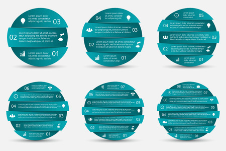 6 7: Vector element for infographic. Template for diagram, graph and chart. Business concept with 3, 4, 5, 6, 7 and 8 options, parts, steps or processes. Abstract background.