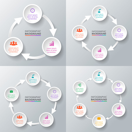 six: Vector circle arrows for infographic. Template for cycle diagram, graph, presentation and round chart. Business concept with 3, 4, 5 and 6 options, parts, steps or processes. Data visualization.