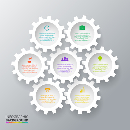 Vector gears for infographic. Template for cycling diagram, graph, presentation. Business concept with 7 options, parts, steps or processes. Abstract background Vettoriali