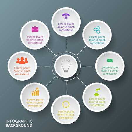 Vector circle infographic. Template for cycle diagram, graph, presentation and round chart. Business concept with 8 options, parts, steps or processes. Data visualization.