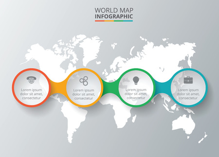 alrededor del mundo: Vector mapa del mundo con elementos infográficos. Plantilla de diagrama, gráfico, presentación. Concepto de negocio con 4 opciones, partes, etapas o procesos. Resumen de antecedentes Vectores