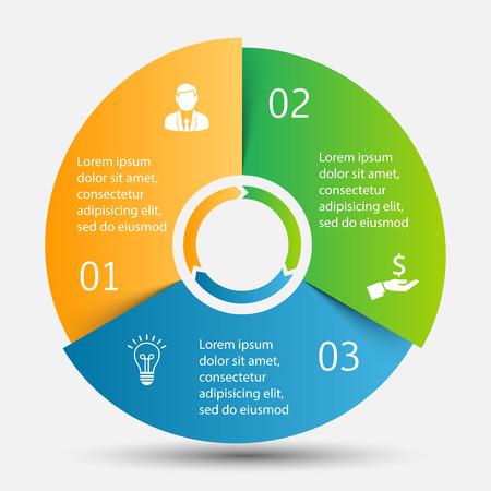 par: Vector círculo infográfico. Molde para o diagrama de ciclo, gráfico, apresentação e gráfico rodada. Conceito do negócio com 3 opções, peças, etapas ou processos. Visualização de dados.