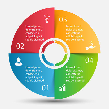 Vector circle infographic. Template for cycle diagram, graph, presentation and round chart. Business concept with 4 options, parts, steps or processes. Data visualization.