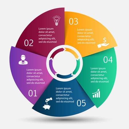 Vector circle infographic. Template for cycle diagram, graph, presentation and round chart. Business concept with 5 options, parts, steps or processes. Data visualization.