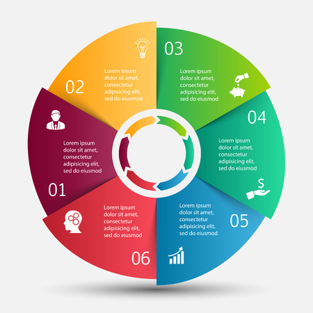 six: Vector circle infographic. Template for cycle diagram, graph, presentation and round chart. Business concept with 6 options, parts, steps or processes. Data visualization.