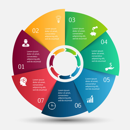 Vector circle infographic. Template for cycle diagram, graph, presentation and round chart. Business concept with 7 options, parts, steps or processes. Data visualization. Vettoriali