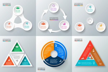 Vector circle elements set for infographic. Template for cycling diagram, graph, presentation and round chart. Business concept with 3 options, parts, steps or processes. Abstract background. Vettoriali